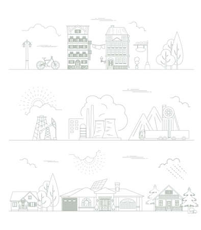 constructor: Great city map creator. Outline version. House constructor. House, cafe, restaurant, shop, infrastructure, industrial, transport, village and countryside. Make your perfect city. Vector illustration