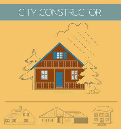 exteriors: Building exteriors graphic template. Outline and color version set. Vector illustration