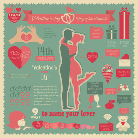 Valentines day infographic. Flat style love graphic template. Vector illustration