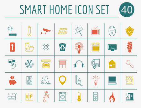 eco icon: Smart house concept. Icon set. Flat style design. Vector illustration Illustration
