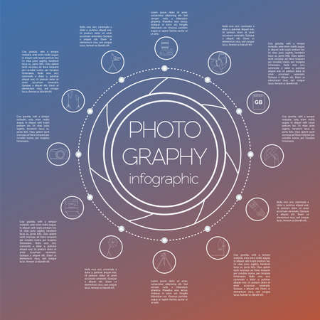 Photography infographics set with photo, camera equipment. Vector illustration
