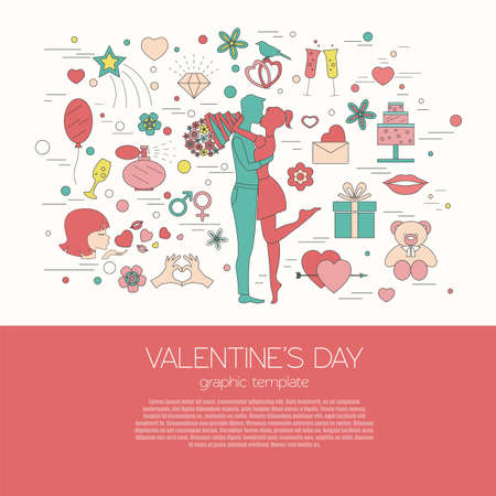man in air: Valentines day design template. Graphic elements with hearts, arrows, champagne, gifts, flowers, bird, diamonds. Vector illustration