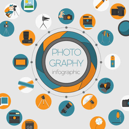Photography infographics set with photo, camera equipment. Vector illustration Vector Illustration
