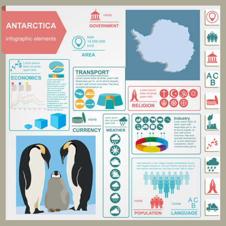 Antarctica (South Pole) infographics, statistical data, sights. Vector illustration Illustration