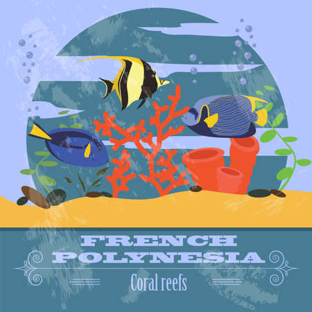 moorish idol: French Polynesia. Retro styled image. Vector illustration