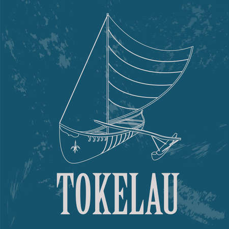 australia landscape: Tokelau. Polynesian canoeing. Retro styled image. Vector illustration Illustration