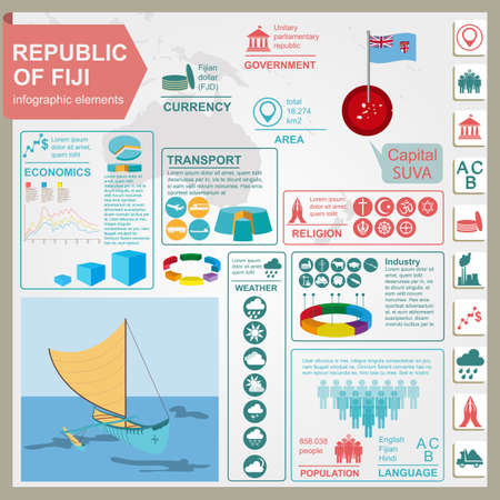 Fiji infographics, statistical data, sights. Vector illustration