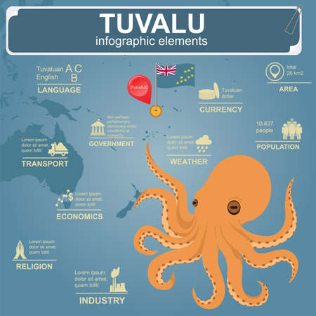 archipelago: Tuvalu  infographics, statistical data, sights. Octopus.  Vector illustration