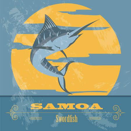 samoa: Samoa. Swordfish.  Retro styled image. Vector illustration