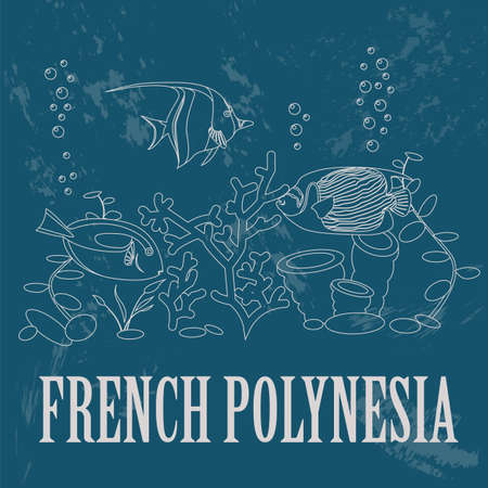 polynesia: French Polynesia. Retro styled image. Vector illustration