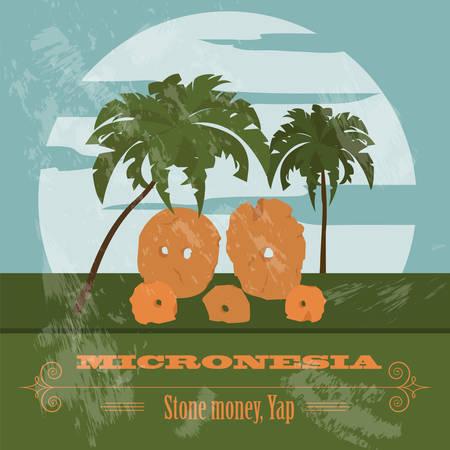 micronesia: Micronesia. Stone money. Yap. Retro styled image. Vector illustration