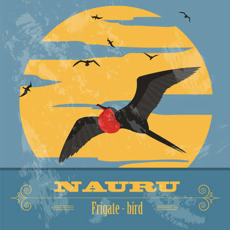 australia landscape: Nauru. Retro styled image. Vector illustration