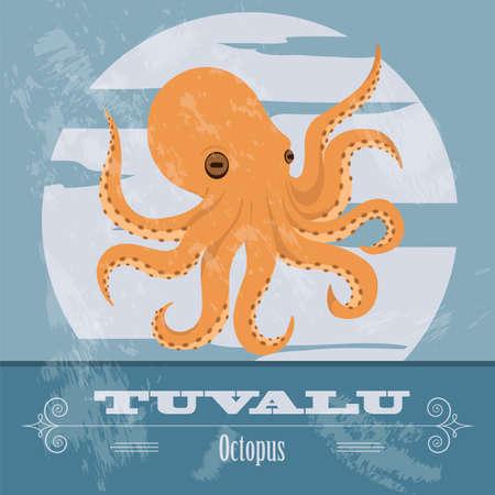 tuvalu: Tuvalu. Octopus. Retro styled image. Vector illustration Illustration