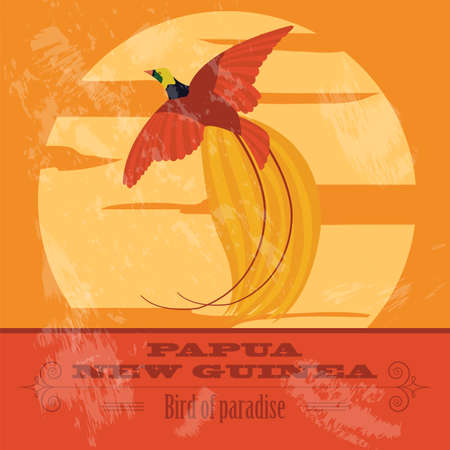 bird of paradise: Papua New Guinea. Paradise bird.  Retro styled image. Vector illustration