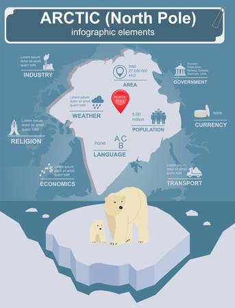 Arctic (Polo Nord) infografica, dati statistici, attrazioni. illustrazione di vettore Vettoriali
