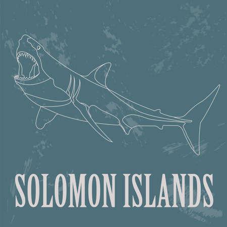 australia landscape: Solomon islands. Great white shark.  Retro styled image. Vector illustration