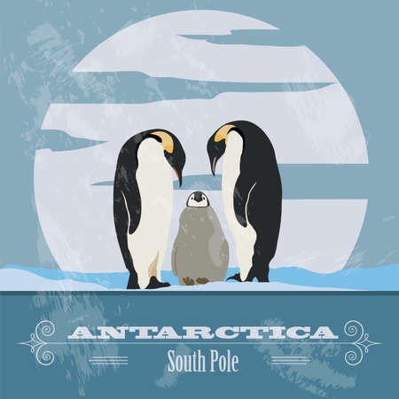 Antarctica. South Pole. Retro styled image. Vector illustration