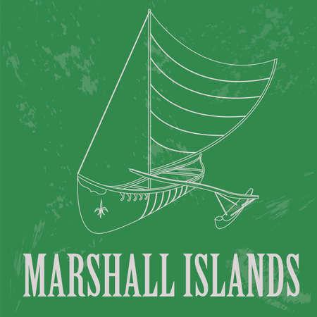 marshall: Marshall islands. Polynesian canoeing. Retro styled image. Vector illustration