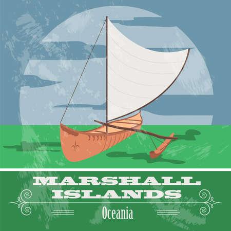 australia landscape: Marshall islands. Polynesian canoeing. Retro styled image. Vector illustration