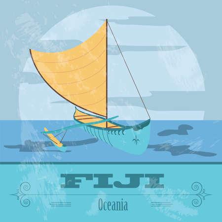 australia landscape: Fiji. Fijian canoeing. Retro styled image. Vector illustration