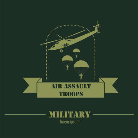 fallschirm: Militär und gepanzerte Fahrzeuge Logos und Abzeichen. Grafik Vorlage. Vektor-Illustration