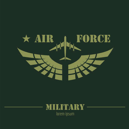 Military logo and badge. Air force. Graphic template. Vector illustration Logo
