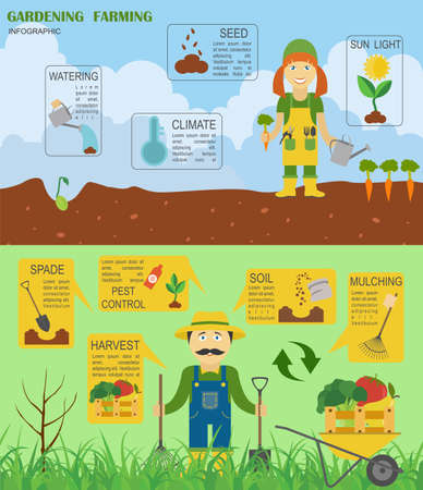 Gartenarbeit, Landwirtschaft Infografik. Grafik-Vorlage. Wohnung Stil Design. Vektor-Illustration Vektorgrafik
