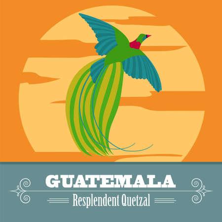 Guatemala landmarks. Retro styled image. Vector illustration