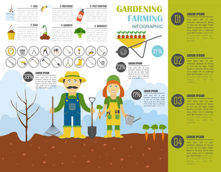 pest control equipment: Gardening work, farming infographic. Graphic template. Flat style design. Vector illustration