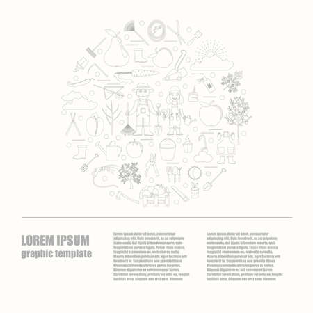 spring bed: Gardening work, farming infographic. Graphic template. Flat style design. Vector illustration