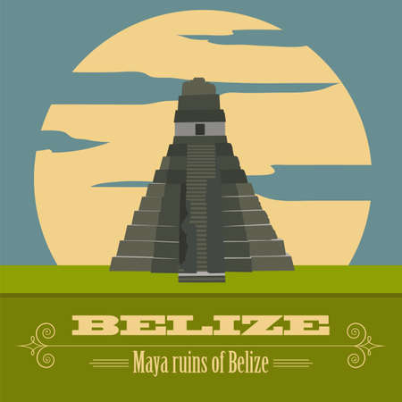 belize: Belize landmarks. Retro styled image. Vector illustration
