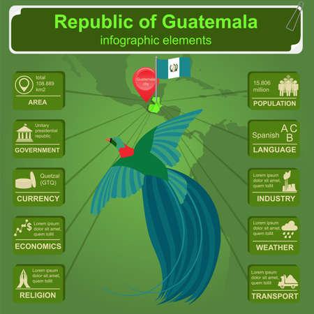 resplendent: Guatemala infographics, statistical data, sights. Vector illustration