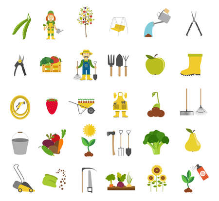 spring bed: Gardening work, farming icon set. Flat style design. Vector illustration