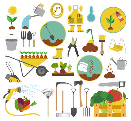 garden flowers: Gardening work, farming icon set. Flat style design. Vector illustration