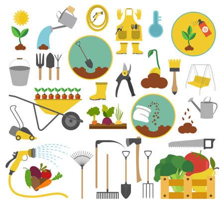 trabajos de jardinería, agricultura icono conjunto. diseño de estilo plano. ilustración vectorial