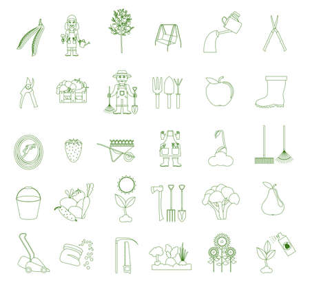 pest control equipment: Gardening work, farming icon set. Outline linear style design. Vector illustration Illustration