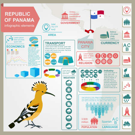 Panama infographics, statistical data, sights. Vector illustration