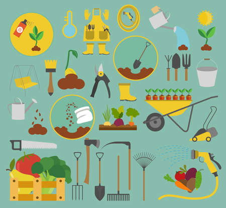 pest control equipment: Gardening work, farming icon set. Flat style design. Vector illustration