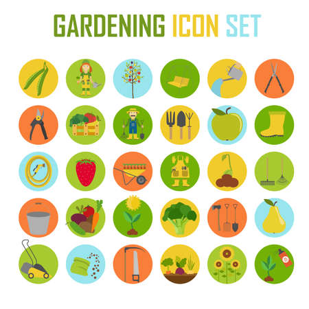 Gardening work, farming icon set. Flat style design. Vector illustration