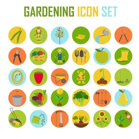 Tuinieren werk, landbouw icon set. Vlakke stijl design. vector illustratie Stock Illustratie
