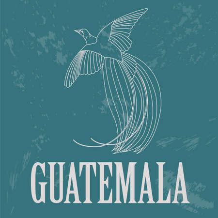 birds of paradise: Guatemala landmarks. Retro styled image. Vector illustration