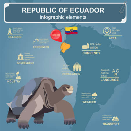 country church: Ecuador infographics, statistical data, sights. Vector illustration Illustration