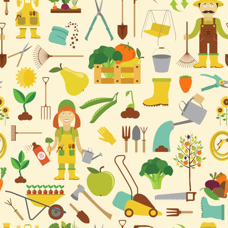 pest control equipment: Gardening work, farming seamless pattern. Flat style design. Vector illustration