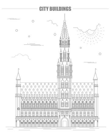 town hall: City buildings graphic template. Belgium town hall. Vector illustration