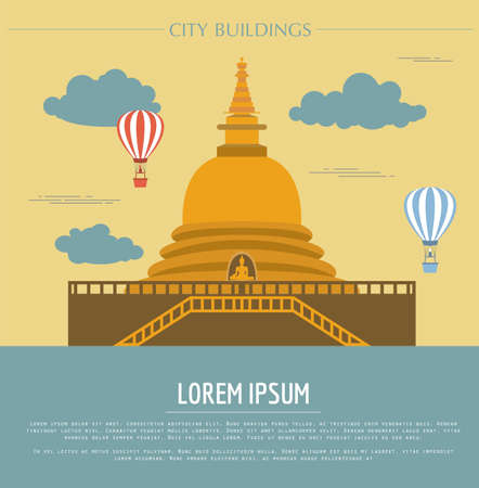 stupa: City buildings graphic template. Sri Lanka. Buddha`s temple. Vector illustration
