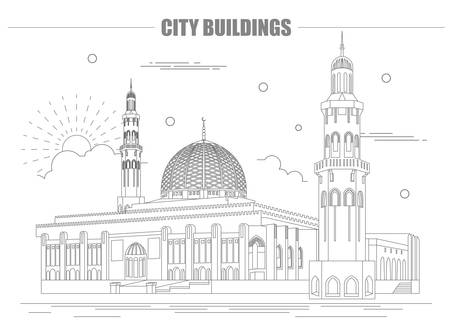 mausoleum: City buildings graphic template. Oman. Muscat mausoleum. Vector illustration