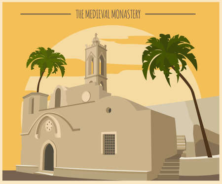 monastery: City buildings graphic template. Ayia Napa monastery.  Vector illustration