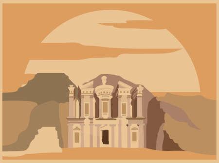 petra: City buildings graphic template. Jordan. Petra. Vector illustration Illustration
