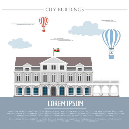 suriname: City buildings graphic template. Suriname. Vector illustration