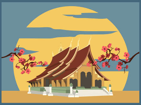 stupa: City buildings graphic template. Laos. Luang Prabang. Vector illustration